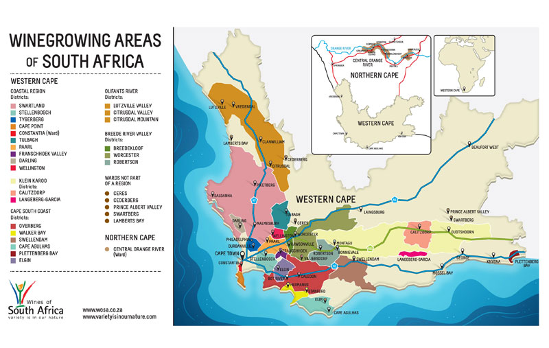 Mapa Vinicola África do Sul - Crédito Wines of South África